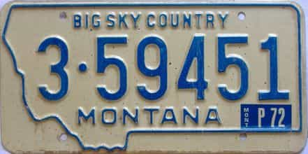 1972 Montana  (Single) license plate for sale