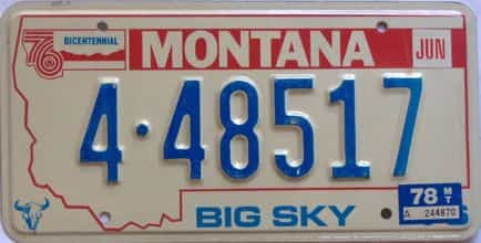 1978 Montana  (Single) license plate for sale