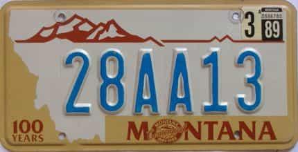 1989 Montana  (Single) license plate for sale