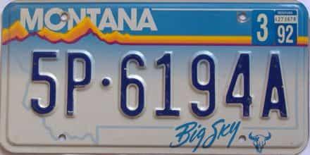 1992 Montana  (Single) license plate for sale