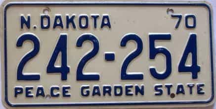 1970 North Dakota  (Single) license plate for sale