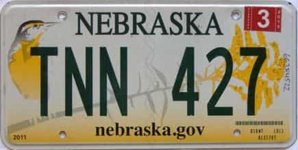 2015 Nebraska  (Single) license plate for sale