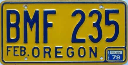 1979 Oregon  (Single) license plate for sale