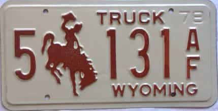 1978 Wyoming  (Truck) license plate for sale