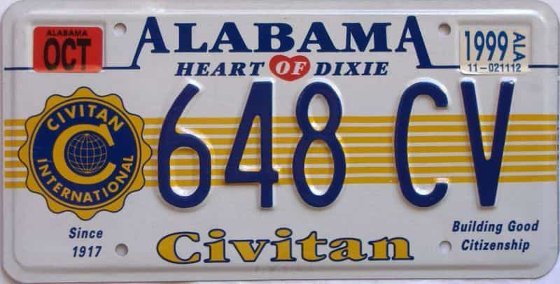 1999 Alabama license plate for sale