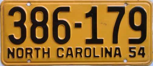 1954 North Carolina license plate for sale