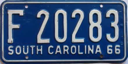1966 South Carolina  (Single) license plate for sale