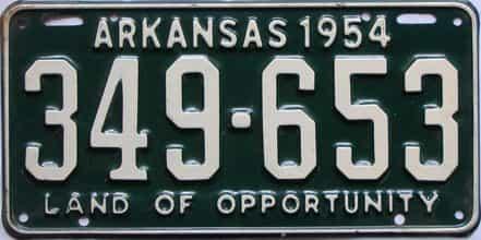 1954 Arkansas license plate for sale
