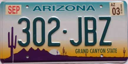 2003 Arizona license plate for sale