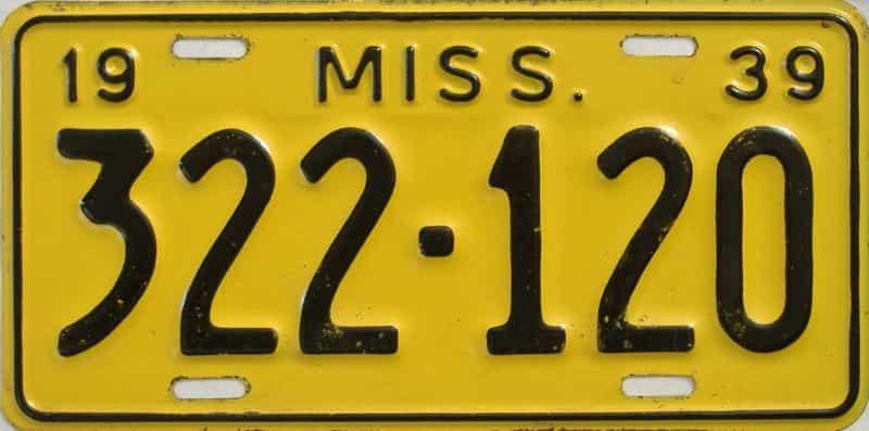 1939 Mississippi license plate for sale