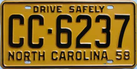 1958 North Carolina license plate for sale