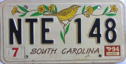 1994 South Carolina license plate for sale