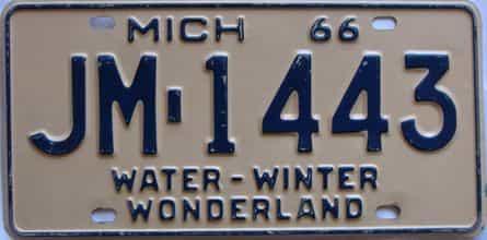 1966 Michigan  (Single) license plate for sale