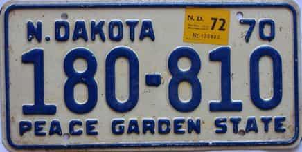 1972 North Dakota  (Single) license plate for sale