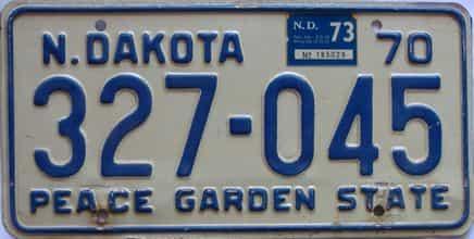 1973 North Dakota  (Single) license plate for sale