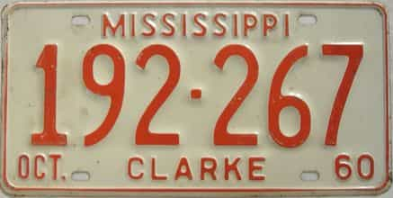 1960 Mississippi license plate for sale