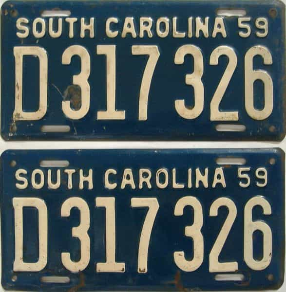 1959 South Carolina (Pair) license plate for sale