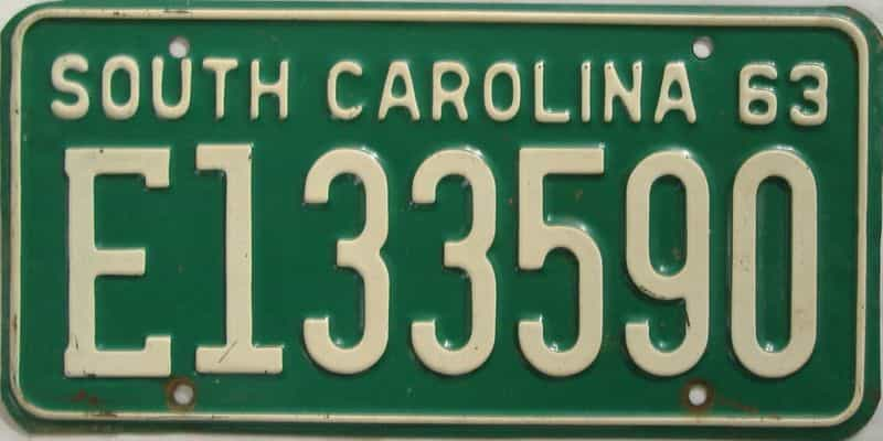 1963 South Carolina license plate for sale