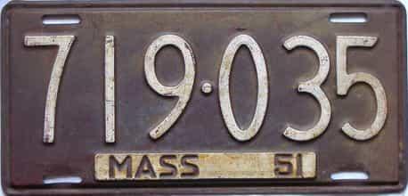1951 Massachusetts  (Single) license plate for sale