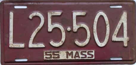 1955 Massachusetts  (Single) license plate for sale