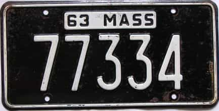 1963 Massachusetts  (Single) license plate for sale