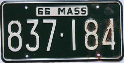 1966 Massachusetts  (Single) license plate for sale
