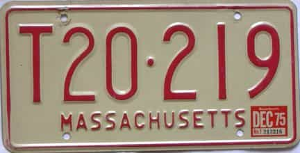 1975 Massachusetts  (Trailer) license plate for sale
