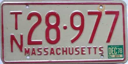 1978 Massachusetts license plate for sale