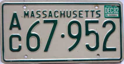 1982 Massachusetts  (Truck) license plate for sale