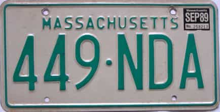 1989 Massachusetts license plate for sale