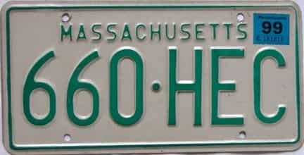 1999 Massachusetts license plate for sale
