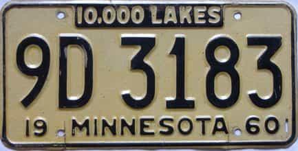 1960 Minnesota  (Single) license plate for sale