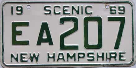 1969 New Hampshire  (Single) license plate for sale