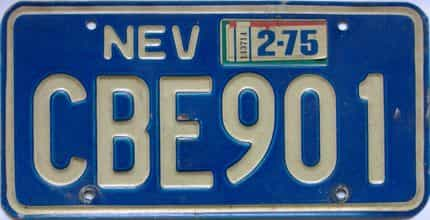 1975 Nevada  (Single) license plate for sale