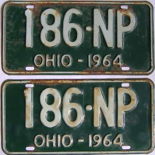 1964 OH (Pair) license plate for sale