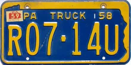 1959 Pennsylvania  (Truck) license plate for sale