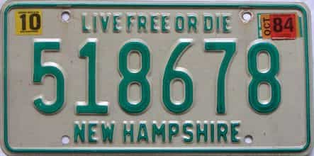 1984 New Hampshire  (Single) license plate for sale