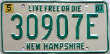 1987 New Hampshire  (Single) license plate for sale