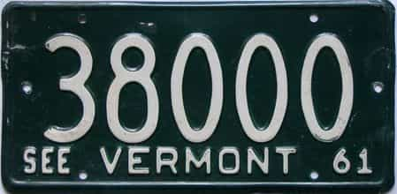 1961 Vermont  (Single) license plate for sale