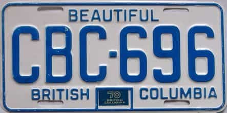 1970 British Columbia  (Single) license plate for sale