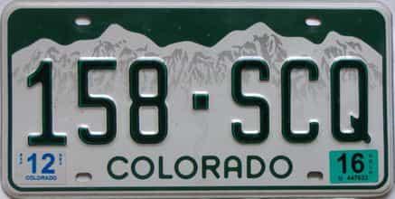 2016 Colorado  (Single) license plate for sale