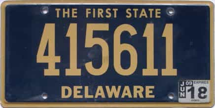 2018 Delaware license plate for sale
