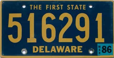 1986 Delaware license plate for sale