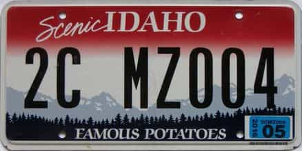 2016 Idaho  (Single) license plate for sale