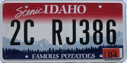 2018 Idaho  (Single) license plate for sale
