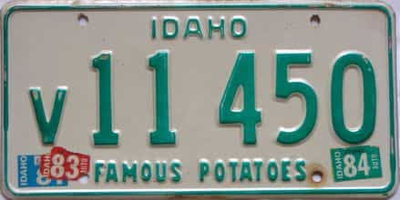 1984 Idaho  (Single) license plate for sale