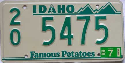 1988 Idaho  (Single) license plate for sale