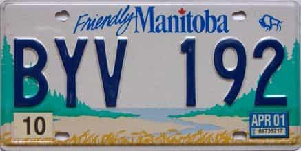 2001 Manitoba  (Single) license plate for sale