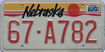 1989 Nebraska  (Single) license plate for sale