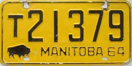 1964 Manitoba  (Single) license plate for sale